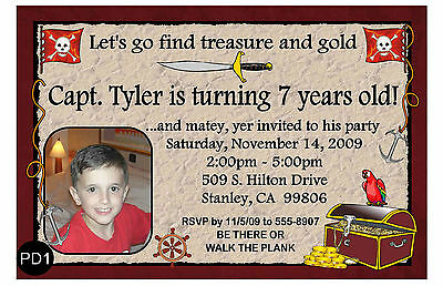 Personalized Pirate Birthday Party Invitations