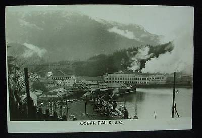 Real Photo Postcard Ocean Falls BC Mill and Waterfront