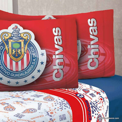 985b16a7614 Chivas Soccer Guadalajara Futbol Sheets Set FULL 4PC Gift Bedding Blue Red  Boy