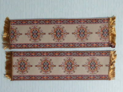 "Dolls House Miniature 1:12 Scale 2 x Woven Turkish Carpet Runner 7"" X 1 7/8"" (F)"
