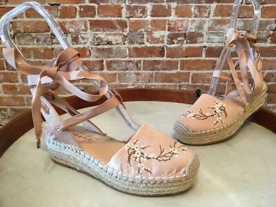 12958b0577a Nanette Lepore Blush Floral Embroidered Beatriz Ankle Wrap Espadrille Shoe  6 New