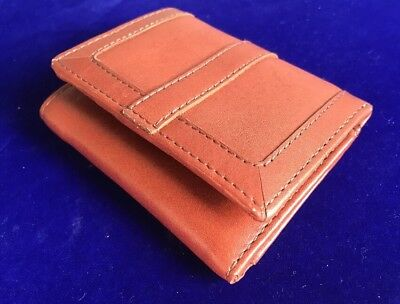 Vita John Lewis Tan Brown Leather Trifold ID Credit Card Coin Holder Wallet A74
