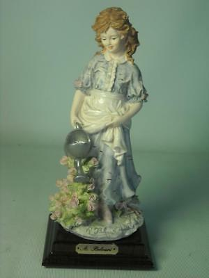 "Auro Belcari YOUNG GIRL GARDENING Italian Figurine 8"" Tall Dear Studio Watering"