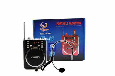 Portable  PA System W/ Headset Microphone USB SD FM Rechargeable Bluetooth Black