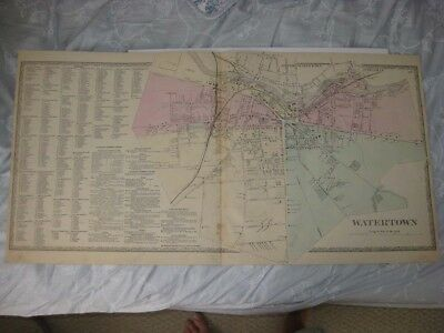 Large Antique 1864 Watertown City Jefferson County New York Handcolored Map Rare