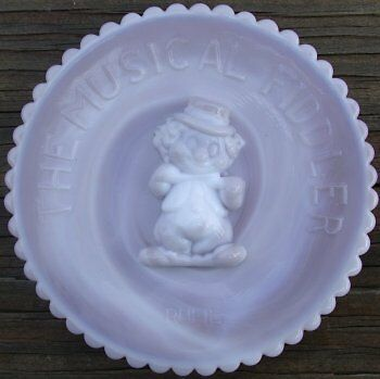 Mosser Glass Old Fiddler Clown Plate PEWTER SLAG Glass Made in Ohio Rufie