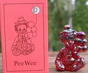 Mosser Glass Old PeeWee Clown CHERRY RED CARNIVAL Glass Made in Ohio Letter D
