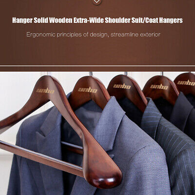 5 Pack Nature Wooden Wood Clothes Hangers Walnut Coat Suit Dress Pants Hangers