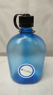 NEW Nalgene Oasis 38mm Narrow Mouth 32oz Canteen Water Bottle Blue w/Black Lid