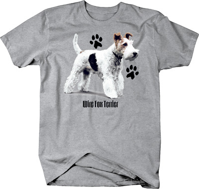 Cute Wire Fox Terrier Dog Standing up With Paw Prints Custom Tshirt