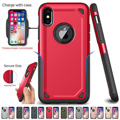 Hybrid Shockproof Rugged Silicone Bumper Armor Case Cover For iPhone X 8 7 Plus