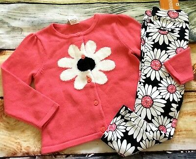 Gymboree 2T Set Kitty in Pink Daisy Coral Sweater Floral Ponte Pants NWT