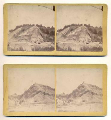 LOT of 2, c 1880 HILLSIDE STRIP MINE MINING OPERATION w WORKERS, RAIL TRACKS