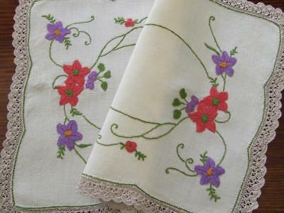 Gorgeous Hand Embroidered Centre - Trailing Colourful Florals - Crochet Edge
