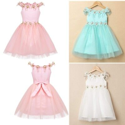 Baby Girls Flower Princess Dress Off Shoulder Pageant Tutu Bow Casual Party Gown