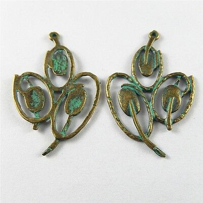 Retro Bronze Zinc Alloy Three Hollow Leaves Charms Pendants Crafts Jewelry 38pcs