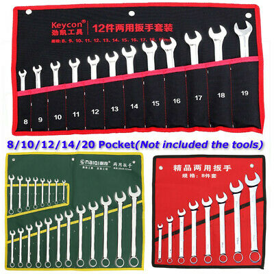 8/10/12/14/20 Pocket Canvas Roll Up Storage Bag Spanner Wrench Organizer Pouch