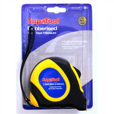 7.5m Black Rubber Measuring Tape - Supatool Rubberised Measure 75m x 25mm