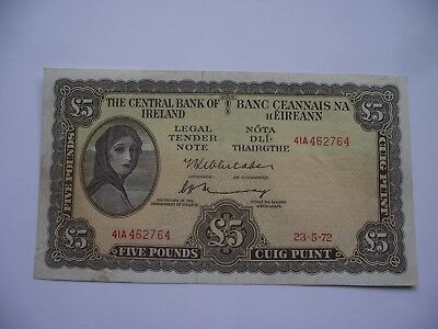 IRLAND. BANK of IRELAND. £5 POUNDS BANKNOTE (23.5.1972) Super Zustand!
