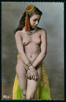 North Africa ethnic arab nude woman original c1930-1950s photo postcard ee