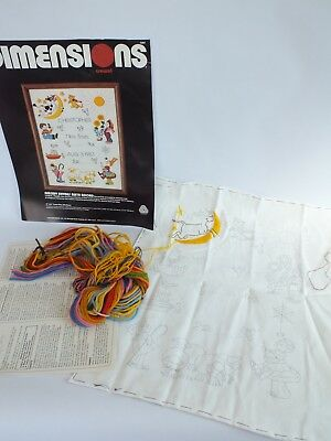 Vintage Crewel Embroidery Kit by Dimensions Birth Nursery Sampler Started 12x16""