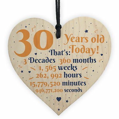 Novelty 30th Birthday Gift Wooden Heart Plaque Friendship Gift For Family Sister