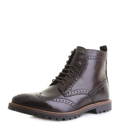 MENS BASE LONDON Troop Washed Brown Leather Brogue Boots