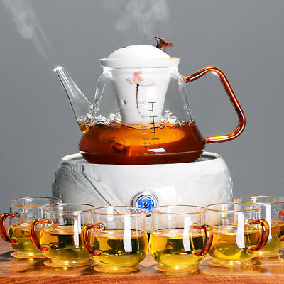 automatic electrical pottery furnace glass tea pot with infuser big pot tea cups