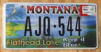 MONTANA FLATHEAD LAKE specialty license plate  Mar2015  AJQ-544