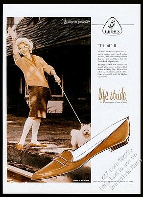 1959 Norwich Terrier and woman photo Life Stride T-Bird II shoes vintagead