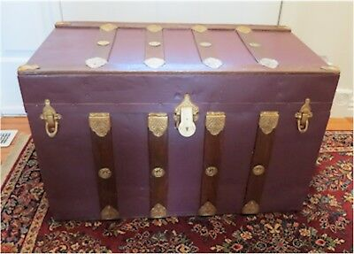 Vintage Antique Flat Top Steamer Trunk Metal & Wood with Tray