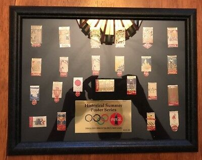 1996 Coca Cola Olympic Historical Summer Poster Series 23 Pin Set Framed