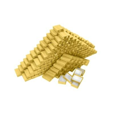 200 Gold Cotton Filled Ring Charm Jewelry Gift Boxes