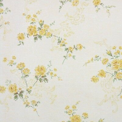 1960s Floral Vintage Wallpaper Yellow Roses On White