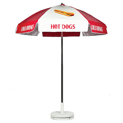 Hot Dog Vendor Cart Concession Umbrella Red & White With Tilt