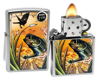 Zippo 29391 Largemouth Bass And Bird Satin Chrome Finish Windproof Lighter