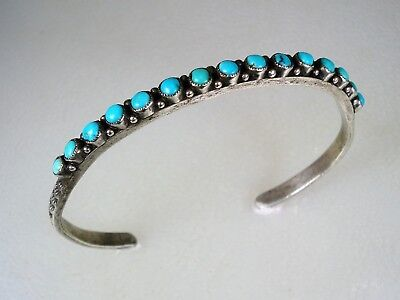 Old Zuni Stamped Sterling Silver & 15 Blue Snake-Eye Turquoise Row Bracelet