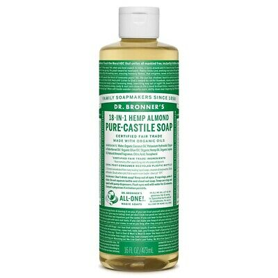 Dr Bronner's Pure-Castile Soap 16oz Almond Scent Concentrated/Organic/Fair Trade