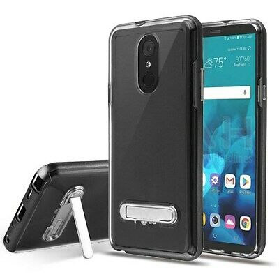 LG Stylo 4 - Black/Transparent Clear Case Cover (with Magnetic Metal Stand)