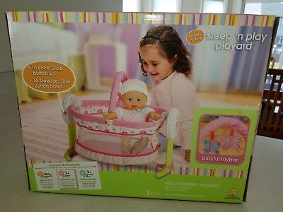 New Fisher Price Little Mommy Sleep N Play Playard Crib Cradle Baby Doll Bed