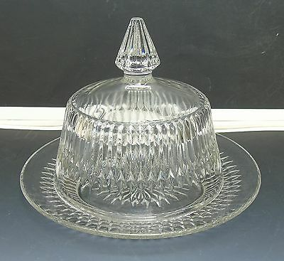 Antique Glassware EAPG Diamond Point Ptn Clear Glass Small Butter Cheese Dish