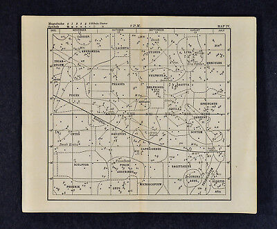 1889 Astronomy Print - Star Chart - Fall Constellations Zodiac - North Sky