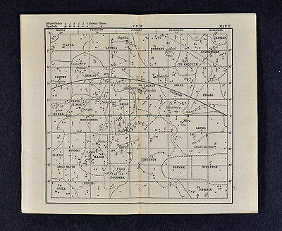 1889 Astronomy Print - Star Chart - Summer Constellations Zodiac - North Sky