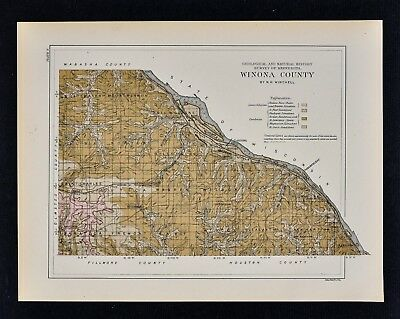 1884 Minnesota Geology Map Winona County Lewiston Stockton Troy Elba Saratoga MN