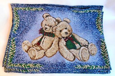 "6 Teddy Bear Tapestry Placemats Christmas Decor Holiday Set Lot  18""x12"""