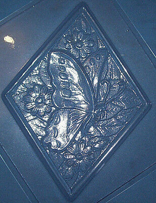 Large Diamond Shape With Flowers & A Butterfly Chocolate Mould Or Plaster Mould