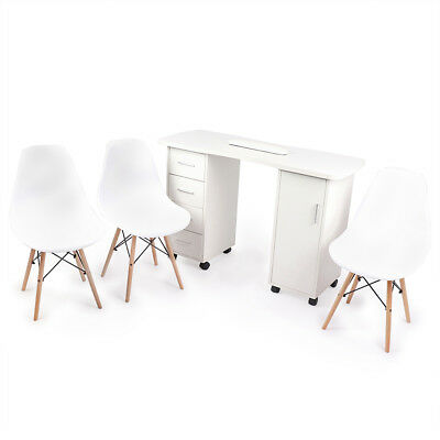 Large White Nail Bar Manicure Table Furniture Set With 3 Chairs Included