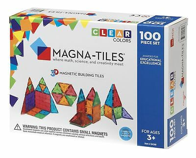 Good GIFTS Magna Tiles 100pc Clear Color 3D Magnetic Building Tiles Valtech -NIB
