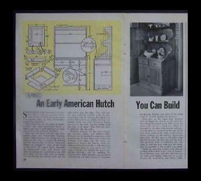 "Colonial HUTCH How-To Build PLANS Early American 32""wide"