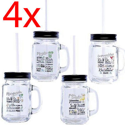 4 X Mason Jam Jar Glasses With Handle Lid Straw Drink Glass Drinking 410Ml New